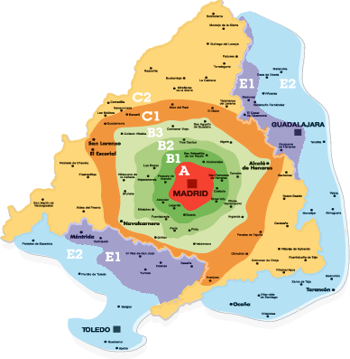 Mapa de zonas de cercanías